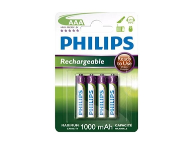 Polnilne baterije Philips R03B4RTU10 AAA 1000mAh NiMH Ready-to-Use (4 kos)