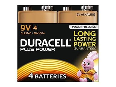 Alkalne baterije Duracell Plus Power MN1604B4 PP3 9V (4 kos)