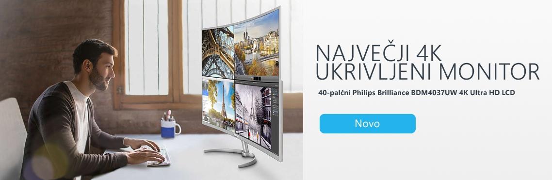 4K ukrivljeni monitor Philips BDM4037UW
