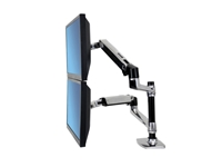 Namizni nosilec za dva monitorja Ergotron LX Dual Stacking Arm (poliran aluminij)