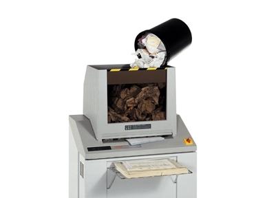 Uničevalec dokumentov, CD medijev, disket, kartic in mikrofilmov Intimus H200 z veliko zbirno posodo za uničevanje tako ravnega kot zmečkanega papirja